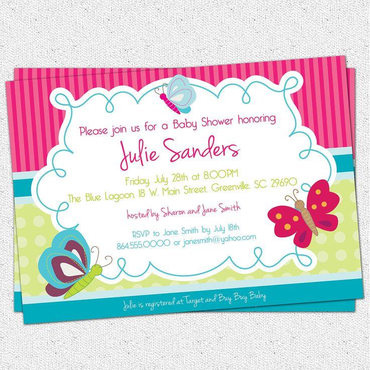 printable butterfly baby shower invitation butterflies spring gender neutral girl diy digital file
