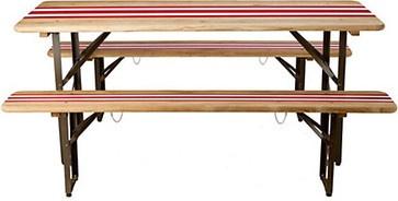 Striped Biergarten Dining Set - traditional - outdoor tables - Terrain