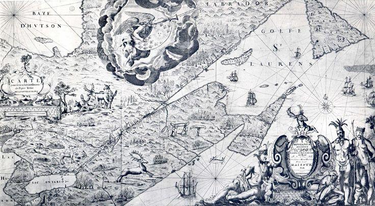 Carte de La Nouvelle-France du XVIIe siècle dédiée à Colbert - Portail:Nouvelle-France/Image du mois/Archives — Wikipédia