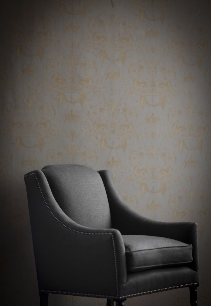 The elegant Alexandra chair with antique nailing detail in Bantry linen - espresso