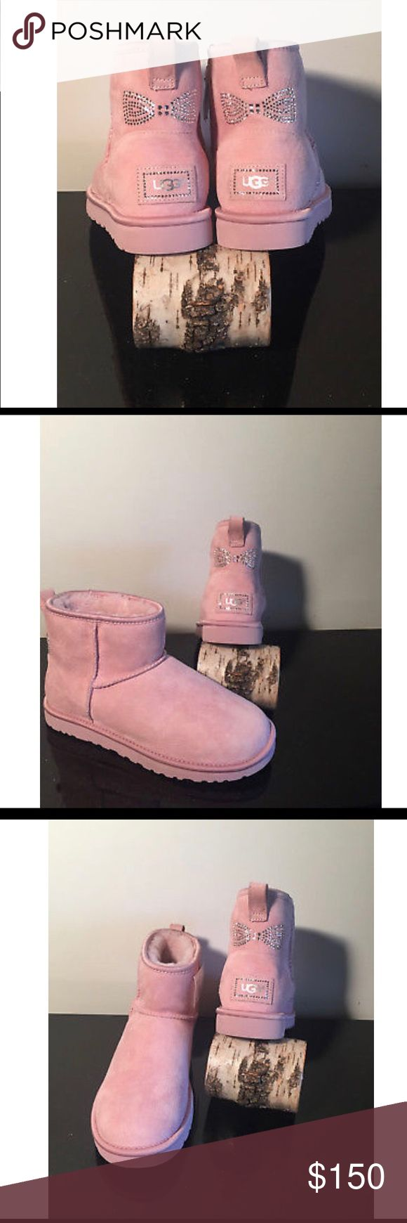 Ugg Australia Classic Mini Crystal Bow NWOT LIMITED EDITION BABY PINK CRYSTAL BOW UGG BOOTS! New WITHOUT box Tried on and do not fit me :( THEY'RE BEAUTIFUL  Size 8 UGG Shoes