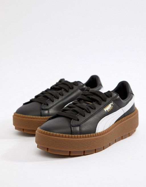Puma Platform Trace Sneakers In Black With Gum Sole | Puma ...