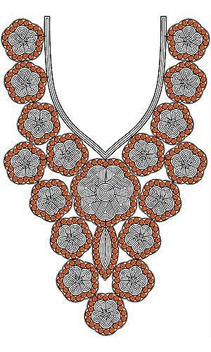 Cute & Unique Style Cording Neck Embroidery Design