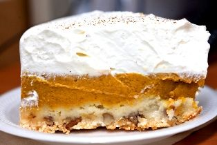 Pumpkin Crunch Delite With Pumpkin Pie Filling, Evaporated Milk, Large Eggs, Sugar, Cinnamon, Nutmeg, Ground Ginger, Ground Cloves, Salt, Yellow Cake Mix, Walnuts, Butter, Cool Whip