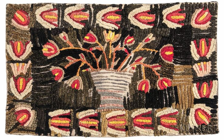 Folk Art Floral Shirred Rug | Sale Number 3022M, Lot Number 543 | Skinner Auctioneers