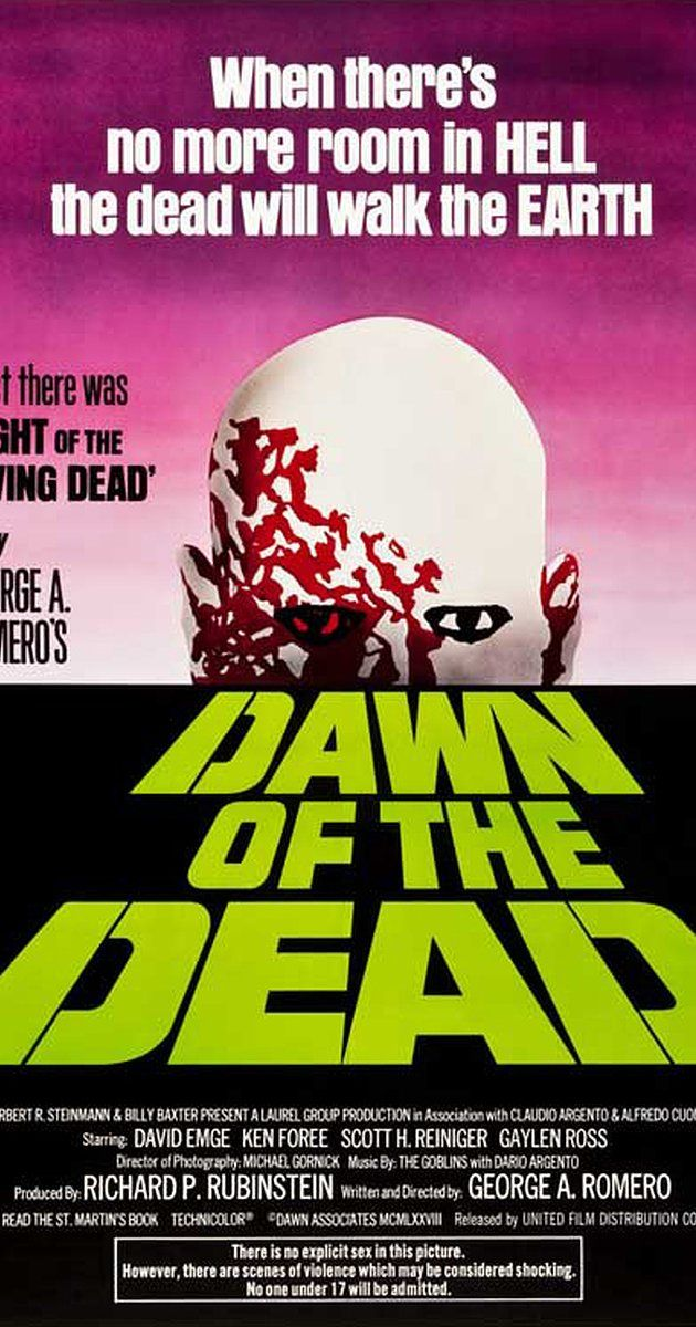 Directed by George A. Romero.  With David Emge, Ken Foree, Scott H. Reiniger, Gaylen Ross. Following an ever-growing epidemic of zombies that have risen from the dead, two Philadelphia S.W.A.T. team members, a traffic reporter, and his television executive girlfriend seek refuge in a secluded shopping mall.