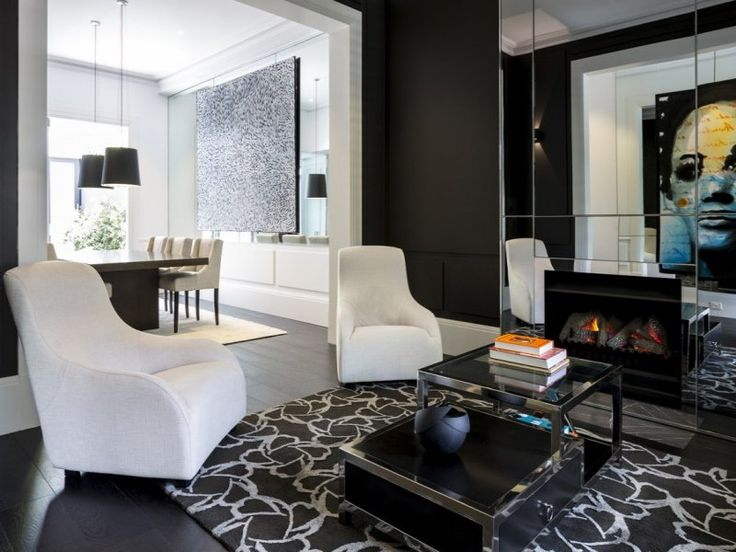 Monochrome Living Room And Dining Black Floorboards