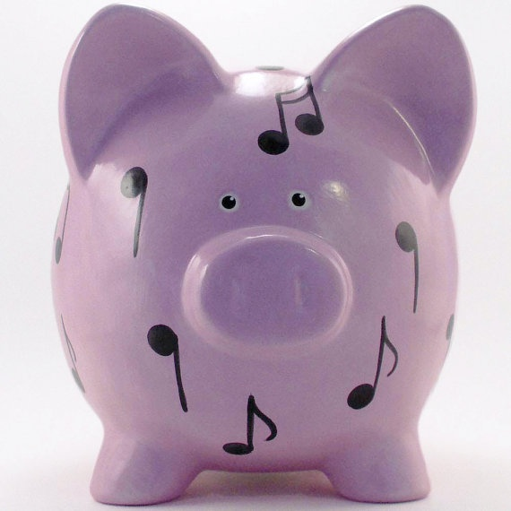 Personalized Piggy Bank  Music Note  Ceramic  with by ThePigPen, $42.50