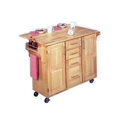 Lowest price online on all Stainless Steel Kitchen Cart with Breakfast Bar in Natural Finish - 5086-95