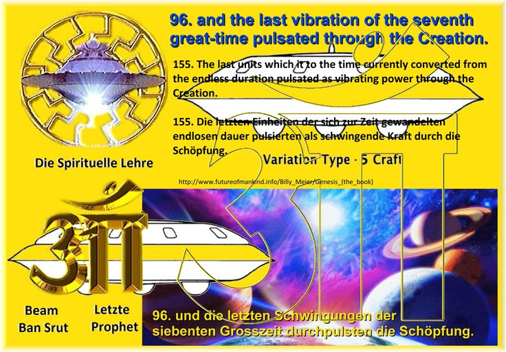 96. and the last vibration of the seventh great-time pulsated through the Creation. 155. The last units which it to the time currently converted from the endless duration pulsated as vibrating power through the Creation.   http://www.futureofmankind.info/Billy_Meier/Genesis_(the_book) https://shop.figu.org/b%C3%BCcher/ur-ur-ur-ur-ur-ur-ur-ursprung-aller-existenz https://creationaltruth.org/Library/FIGU-Books/Ur-Ur-Ur-Ur-Ur-Ur-Ur-Wellspring-of-all-Existence