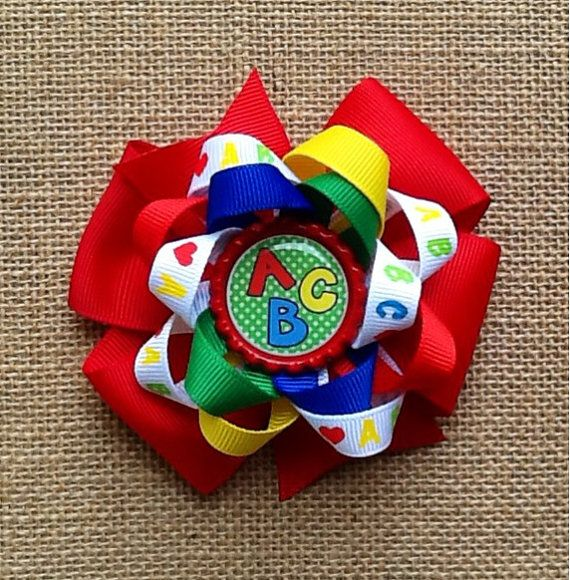 ABC Hair Bow Back to School Hair Bow Hair Bows by RosieMaeBowtique, $4.75