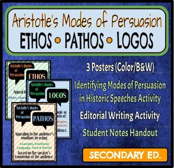 """Persuasive messages are all around us! This lesson teaches students to identify and implement Aristotle's 3 modes of persuasion (rhetorical appeals): ethos, logos & pathos. Appropriate for secondary students, this zip file includes 3 color and B&W posters, student notes, """"Identifying Ethos, Logos & Pathos in Historical Speeches"""" activity, and an """"Editorial Writing"""" activity."""