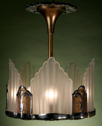 Art deco slip shade chandelier · vintage lightingart deco lightinghome lightingchandelier lightinglighting ideasart deco lampsglass