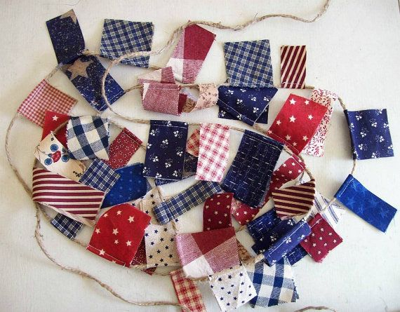 Patriotic Scrappy Banner/ 4th of July  Banner/ by aLittleFrayed, $15.00