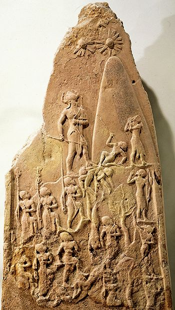 "Naram-Sin's ""Rocket"" --- Zecharia Sitchin suggests the conical object in the stela below is a rocket. #ancient_aliens #aliens #ufo #history:"