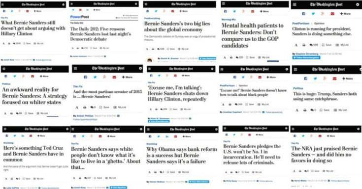 #framing In what has to be some kind of record, the Washington Post ran 16 negative stories on Bernie Sanders in 16 hours, between roughly 10:20 PM EST Sunday, March 6, to 3:54 PM EST Monday, March 7—a window that includes the crucial Democratic debate in Flint, Michigan, and the next morning's spin: