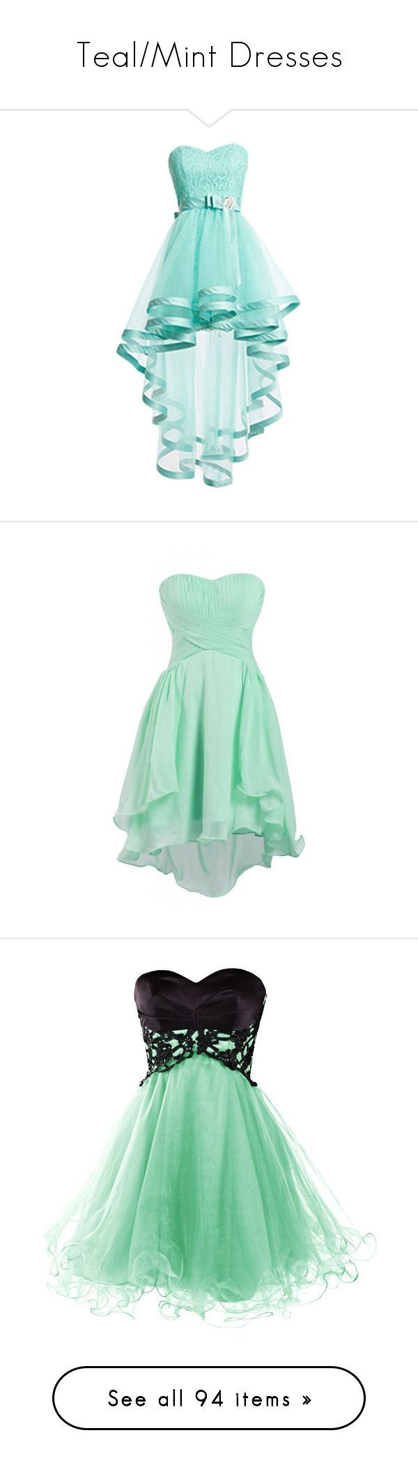"""""""Teal/Mint Dresses"""" by megsjessd99 ❤ liked on Polyvore featuring dresses, short dresses, blue, robes, blue lace dress, prom dresses, blue homecoming dresses, short homecoming dresses, lace prom dresses and chiffon bridesmaid dresses"""