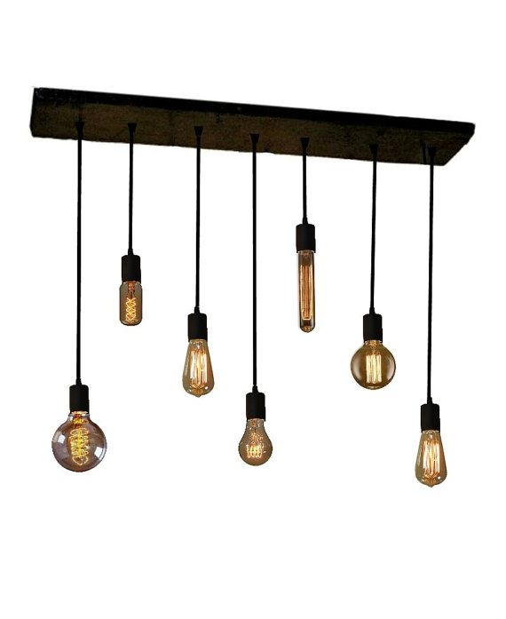 """Expensive but great for the kitchen.   RUSTIC RECLAIMED WOOD CHANDELIER  All Chandeliers are custom and handmade to order any way you like. This listing includes 7 Pendants on 35"""" x 8"""""""