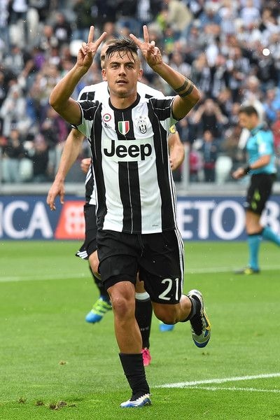 Paulo Dybala of Juventus FC celebrates after scoring his goal from the penalty spot during the Serie A match between Juventus FC and UC Sampdoria at Juventus Arena on May 14, 2016 in Turin, Italy.