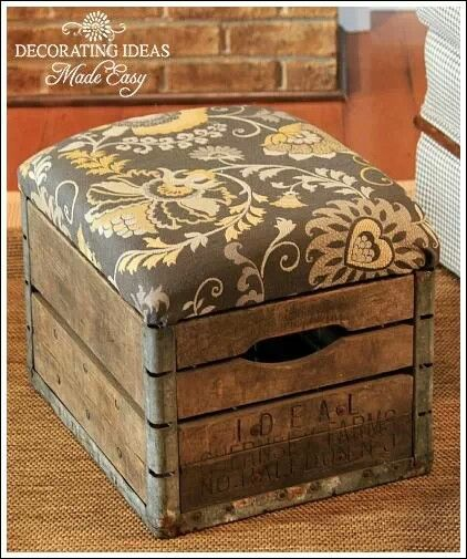 Repurposed old milk crate, fun fabric patterns against wood, upholstery, DIY furniture.