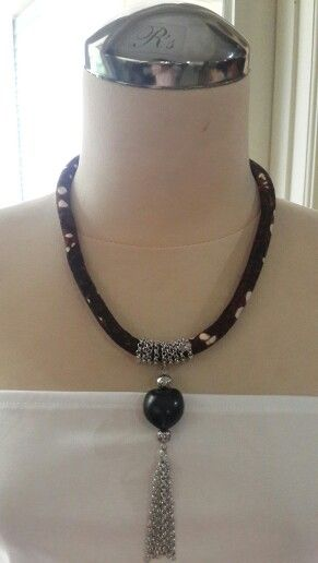 Indonesian batik Fabric necklace with chain tassel, handmade
