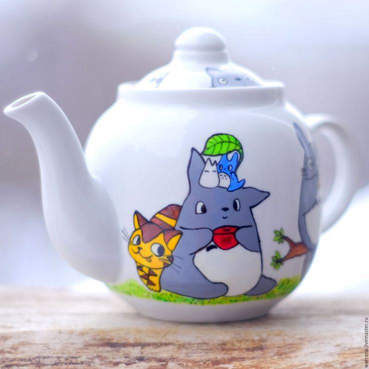 Купить Чайник заварочный Тоторо, ручная роспись - серый, тоторо, чайник из глины, чайник фарфоровый