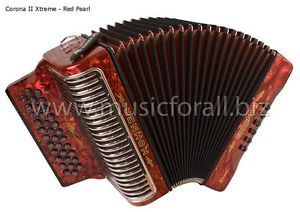 NEW Hohner Corona II Xtreme No Switch Accordion CXEW with Gig Bag, Straps, and Instruction Booklet - Key EAD, Red Pearl - Free Ship to USA - Cheap Worldwide Shipping!   http://stores.ebay.com/music-for-all-03   http://www.musicforall.biz/