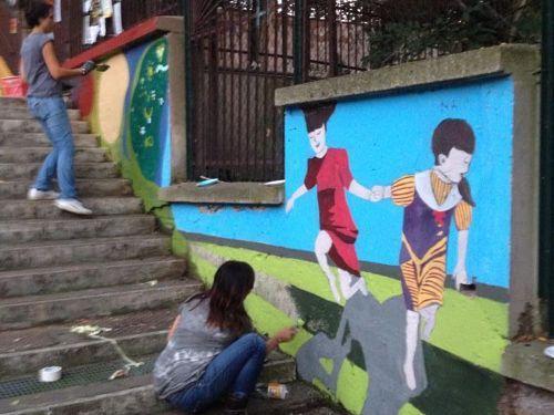 PIttori Anonimi del Trullo e Scuola Bellingeri. Colour fascinates adults and children with the same intensity. Why should we live in a grey city?