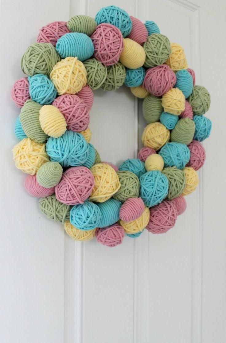 DIY Yarn Egg Wreath For Easter