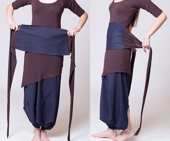 Dual color Obi belt | Blue jeans + Dark brown MB901