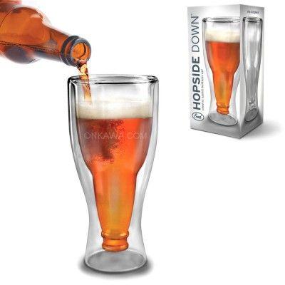 vaso cerveza hopside down