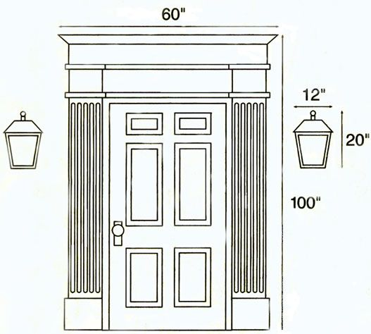 Outdoor lamps should be approximately one fifth the height and width of the doorway, including trim. (For example a 100″ high by 60″ wide entrance would require an 20″Hx12″W fixture.) Post lights should be as large or larger than the lights at your front door...