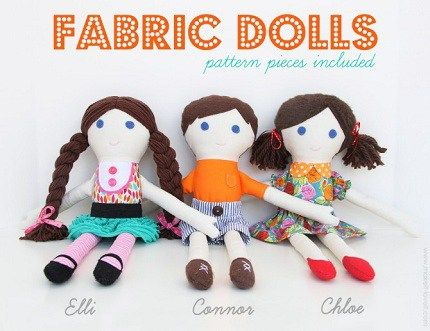 Ashley from Make It and Love It shares a free pattern to make a pair of soft fabric dolls. They are soooo cute!! You can easily make it a look-alike doll by choosing skin fabric, hair, and eyes t…