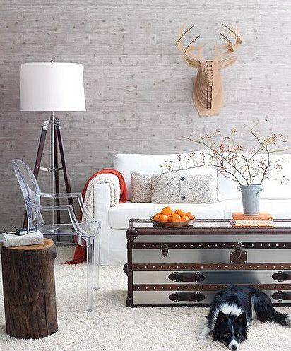 Textured wall with Faux cardboard animal head