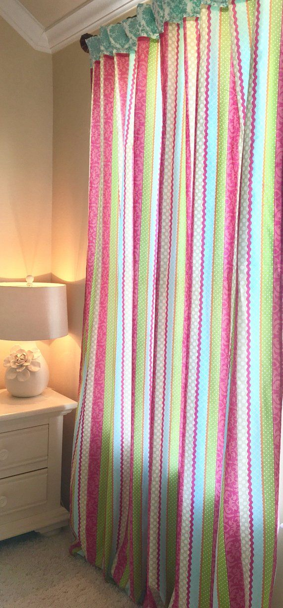 Bright Colored Nursery Curtains Hot Pink Curtains Ribbon Valance