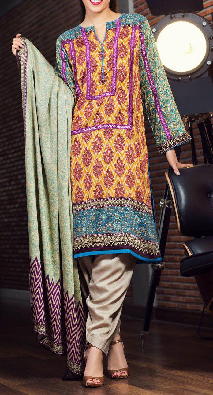 Buy Yellow/Teal green Printed Twill Viscose Linen Salwar Kameez by AlKaram 2015 Call: (702) 751-3523 Email: Info@PakRobe.com www.pakrobe.com https://www.pakrobe.com/Women/Clothing/Buy-Winter-Salwar-Kameez-Online #WinterSalwarkameez