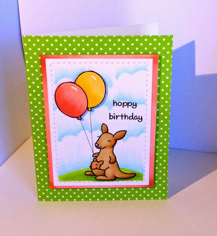 Online Card Classes - Copics for Card Makers - Backgrounds Birthday Card for Katie Lawn Fawn Critters Down Under