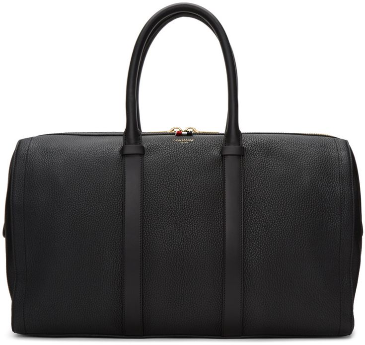 THOM BROWNE Black Unstructured Holdall Bag. #thombrowne #bags #leather #hand bags #lining #