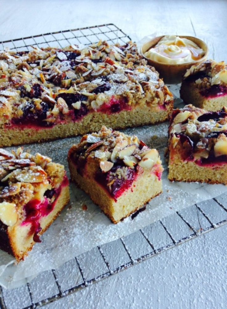 This tender cake has a layer of juicy plums and a lovely nutty crumble topping – perfect for an autumn afternoon tea or serve warm as dessert with icecream or vanilla custard.