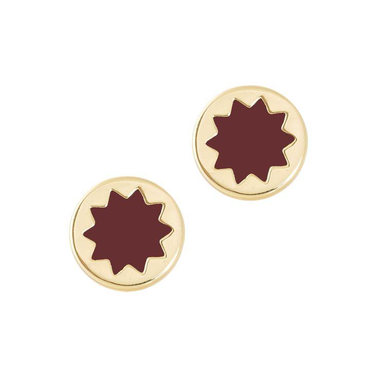 Enamelled Sunburst Stud Earrings - Sangria