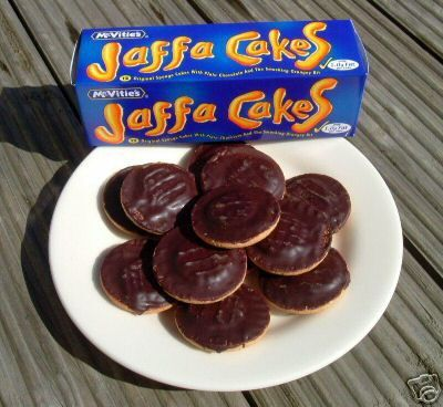 Jaffa Cakes. Awesome sponge-y chocolate orange cakes (or biscuits...) that are particularly amazing, especially when paired with Irish breakfast tea.