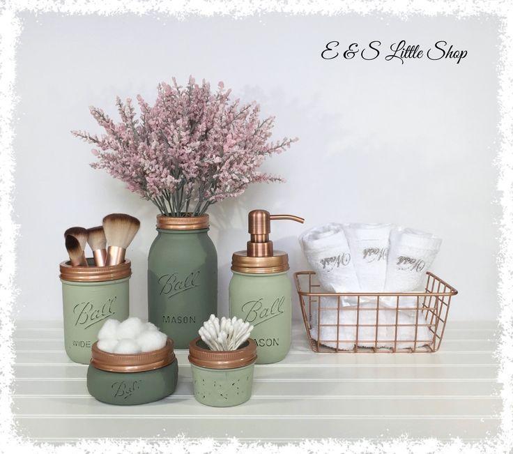 Mason Jar Bathroom Set With Basket