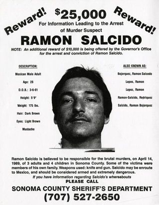 Ramon Salcido killed his 2 daughters and thought he'd killed the 3rd, but she survived.  His mother-n-law, and her 2 other daughters, his wife, and his boss.yikes!!!!!hope hes not related to my husband.
