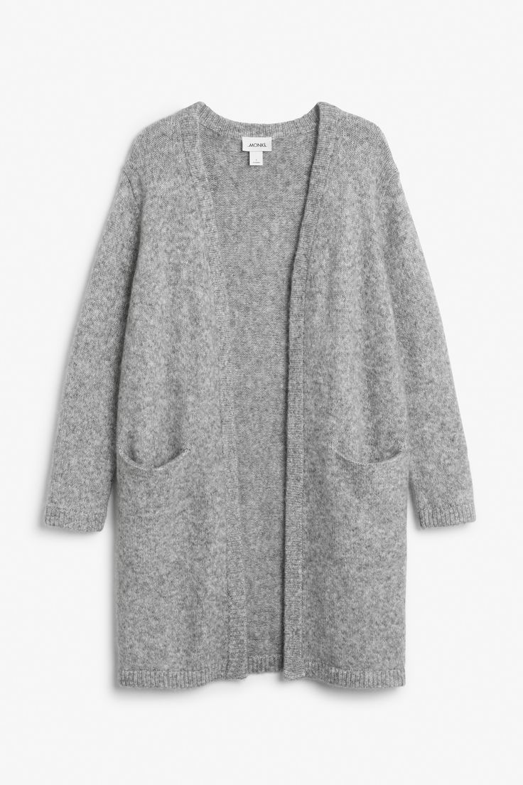 Monki Image 1 of Long cosy cardigan in Grey Light