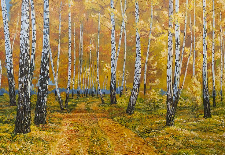 A poplar grove with a winding road, all covered with fall leavs.