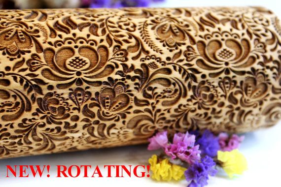 FLOWERS Embossing Rolling Pin Christmas Gift by DiamondWoodcomua