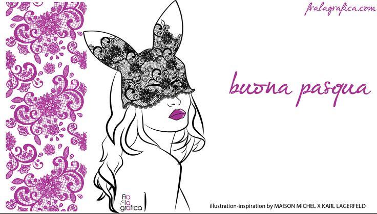 Buona Pasqua. fralagrafica inspiration by Maison Michel and  Karl Lagerfeld. Fashion rabbit