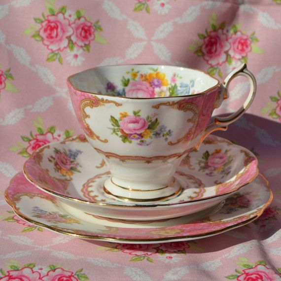 Royal Albert Lady Carlyle Tea Cup, Saucer, Tea Plate Trio, Vintage English China, Pink, Floral, Gilt, First Quality for Tea set
