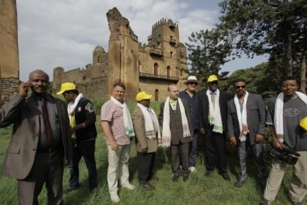 European Tourism delegation is touring the outstandingly preserved Imperial compound of Gondar- Ethiopian empire capital from 17 to 19 century. Behind is the the world famous Fasil Ghibli-Palace of Emperor Fasilides.