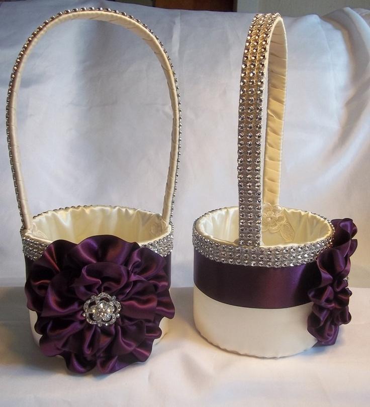 Flower Girl Baskets And Matching Ring Bearer Pillows : Two ivory eggplant flower girl baskets and matching ring